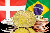 Concept For Investors In Cryptocurrency And Blockchain Technology In The Denmark And Brazil. Bitcoin poster