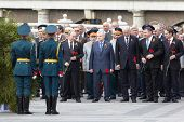 MOSCOW - MAY 8: Vladimir Putin and State Duma deputies and veterans before ceremony of wreath laying