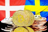 Concept For Investors In Cryptocurrency And Blockchain Technology In The Denmark And Sweden. Bitcoin poster