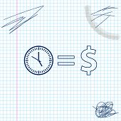Time Is Money Line Sketch Icon Isolated On White Background. Money Is Time. Effective Time Managemen poster