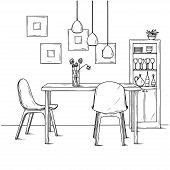 Part Of The Dining Room. On The Table Vase Of Flowers. Lamps Hang Over The Table. Hand Drawn Sketch. poster