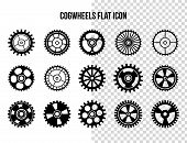 Cogwheel Flat Machine Gear Icon. Set Of Black Machine Gear On A White Background: Wheel Cogwheel Vec poster