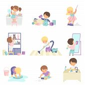 Cute Adorable Kids Doing Housework Chores At Home Set, Cute Little Boys And Girls Washing Floor, Dis poster