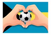 Bahamas Flag And Hand Heart Shape. National Football Background. Soccer Ball With Flag Of Bahamas Ve poster