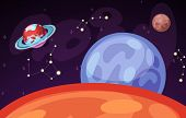 Space And Planet Landscape Vector Illustration. Planets Surface With Craters, Stars And Comets In Da poster