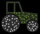 Glowing Mesh Wheeled Tractor With Glow Effect. Abstract Illuminated Model Of Wheeled Tractor Icon. S poster