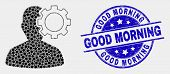 Pixel User Options Gear Mosaic Pictogram And Good Morning Seal Stamp. Blue Vector Rounded Textured S poster
