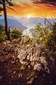 Sunset In Mountain Landscape. Mountain Layers In Sunset. Sunset In The Mountain River Landscape. Riv poster