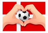 Denmark Flag And Hand Heart Shape. National Football Background. Soccer Ball With Flag Of Denmark Il poster