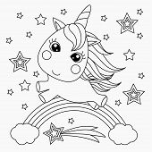 Little Unicorn On A Rainbow. Design For Children. Black And White Illustration For Coloring Book. Ve poster