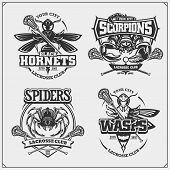 Set Of Lacrosse Badges, Labels And Design Elements. Sport Club Emblems With Scorpion, Wasp, Hornet A poster