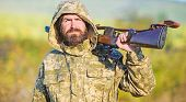 Experience And Practice Lends Success Hunting. Hunting Season. Guy Hunting Nature Environment. Beard poster