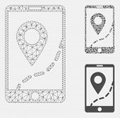 Mesh Mobile Map Navigation Model With Triangle Mosaic Icon. Wire Carcass Polygonal Mesh Of Mobile Ma poster