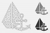Mesh Marine Model With Triangle Mosaic Icon. Wire Frame Triangular Mesh Of Marine. Vector Compositio poster