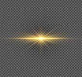 Yellow Glowing Light Burst Explosion On Transparent Background. Vector Illustration Light Effect Dec poster