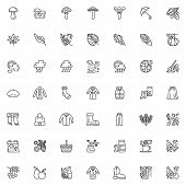 Autumn Season Line Icons Set. Linear Style Symbols Collection, Outline Signs Pack. Vector Graphics.  poster