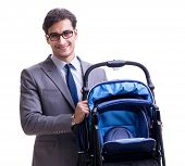 Young dad businessman with baby pram isolated on white poster