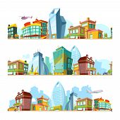 Urban Seamless Landscape. City Backgrounds With Modern Buildings Cityscape Panoramic Town Pattern Fo poster