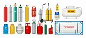Gas Tanks. Compressed Oxygen Propane Dangerous Cylinder Tanks Vector Cartoon Collection. Propane In  poster