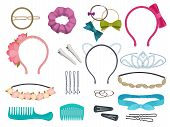 Hair Accessories. Woman Hair Items Stylist Salon Flowers Elastic Bands Bows Hoops Vector Cartoon Ill poster