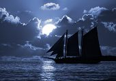 stock photo of moonlit  - A boat on the moonlit seas - JPG