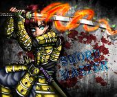Jaziel, He Is A Samurai Warrior And With His Sword Can Release Bursts Of Fire And Energy, Anime Illu poster