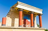 pic of minos  - Northern entrance to the Palace of Knossos decorated with bull fresco. It is located at the end of the road from the Heraklion harbour, island of Crete