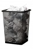 stock photo of dustbin  - Garbage bin with paper waste - JPG