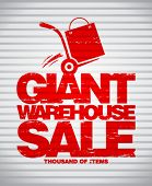 picture of hand truck  - Giant warehouse sale design template with hand truck - JPG