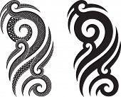 stock photo of maori  - Maori styled tattoo pattern fits for a shoulder or an ankle - JPG