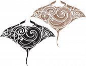 stock photo of manta ray  - Maori styled tattoo pattern in shape of manta ray - JPG
