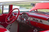 Red White 1955 Chevy Bel Air Interior