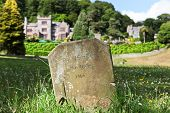 image of manor  - A grave stone for a banshee ghost lit by the afternoon sun in a shady field of wildflowers with an English manor house in the background - JPG