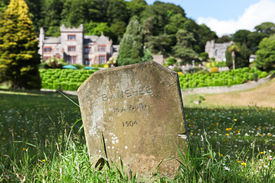 pic of banshee  - A grave stone for a banshee ghost lit by the afternoon sun in a shady field of wildflowers with an English manor house in the background - JPG