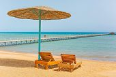 picture of under sea  - Relax under parasol on the beach of Red Sea - JPG