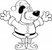 Image of cartoon dog dressed as an elf.