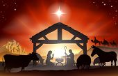 stock photo of nativity scene  - Christmas Christian nativity scene with baby Jesus in the manger in silhouette three wise men or kings farm animals and star of Bethlehem - JPG