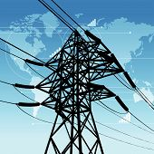 stock photo of power lines  - Vector illustration of the power industry concept - JPG