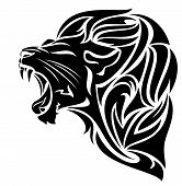 stock photo of growl  - furious lion black and white vector outline  - JPG