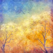 Постер, плакат: Digital Oil Painting Autumn Trees Flying Birds