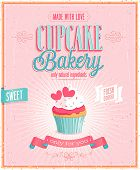 stock photo of fancy cakes  - Vintage Cupcake Poster - JPG