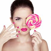 stock photo of lollipop  - Beauty Girl Portrait holding Colorful lollipop - JPG