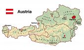 picture of mozart  - Topographic map of Austria in Europe with cities - JPG