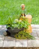 Fresh herbs in mortar on garden table