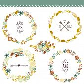 Autumn Floral Frame Collection. Set of cute retro flowers arranged un a shape of the wreath perfect