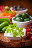 stock photo of yogurt  - Antipasto and catering platter with raw vegetables and yogurt dip - JPG