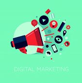 image of e-business  - Flat design stylish vector illustration megaphone with cloud of colorful application icons on media theme - JPG