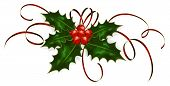 picture of holly  - Illustration of a holly berries and tinsel isolated on a white background - JPG