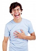 pic of laugh out loud  - Laughing young man with hand on his chest - JPG