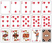 stock photo of joker  - Playing cards heart suit - JPG
